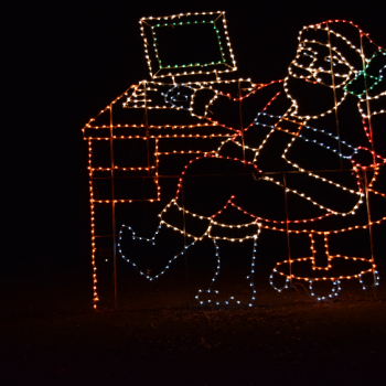 Santa made from lights at Midwest City Light Show